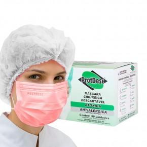 Máscara Tripla ProtDesc - Rosa - Caixa c/ 50 unidades