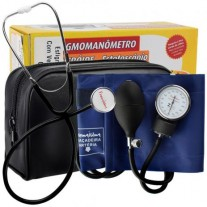 Kit de Esfigmomanômetro Aneróide com Estetoscópio Simples ADULTO - Premium